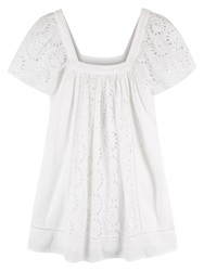 East Broderie Anglaise Cotton Tunic Top White