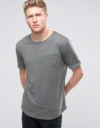 Ringspun Pocket T Shirt With Rolled Up Cuffs And Curved Hem Grey