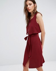 Vila Zip Front Belted Dress Burgundy Red