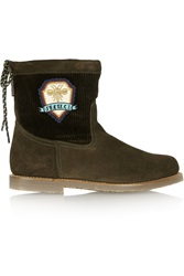 Penelope Chilvers Zuri Corduroy Paneled Suede Ankle Boots