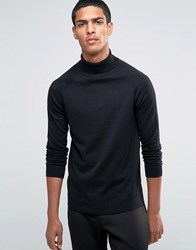 Selected Homme Silk Mix Roll Neck Jumper Black