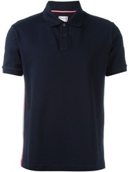 Moncler Gamme Bleu Side Stripe Polo Shirt Blue