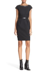 The Kooples Women's Leather Trim Drape Dress