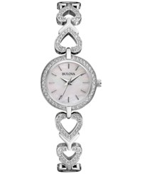 Bulova Women's Crystal Stainless Steel Bracelet Watch And Heart Necklace Box Set 22Mm 96X136 Silver