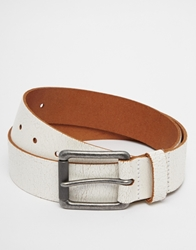 Asos Leather Jeans Belt With Buckle Interest White
