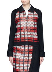 Cynthia And Xiao Textured Tartan Felted Wool Cashmere Jacket Multi Colour