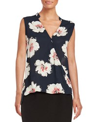 Ivanka Trump Floral Wrap Shell Blue