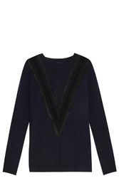 Adam By Adam Lippes Embroidered Sweater Navy