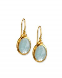 Gurhan Rose Cut Aquamarine Drop Earrings In 24K Gold