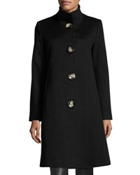 Fleurette Stand Collar Wool Blend Long Coat Black