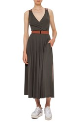 Akris Punto Women's Leather Detail Midi Dress