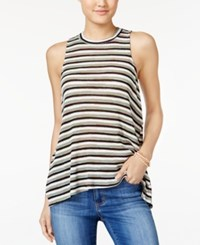 Almost Famous Juniors' Striped Mock Neck Tank Top Light Olive