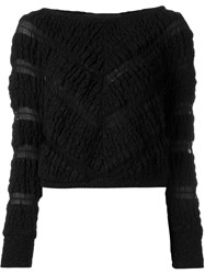 Jay Ahr Chevron Pattern Cropped Jumper Black