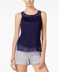 Armani Exchange Sleeveless Sheer Panel Top A Macy's Exclusive Solid Dark