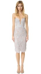 Reem Acra Metallic Lace Dress Silver