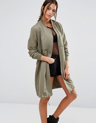 New Look Longline Bomber Jacket Dark Khaki Green
