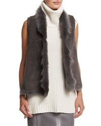 Elie Tahari Piper Lamb Shearling Fur Vest Granite