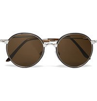 Cutler And Gross Round Frame Leather Trimmed Metal Sunglasses Black