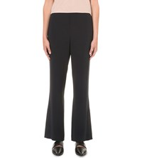 Helmut Lang Cropped Flared Crepe Trousers Navy