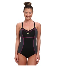 Nike Color Block Adjustable Tank Black Women's Swimsuits One Piece