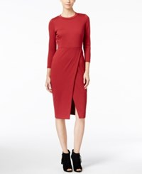 Catherine Malandrino Alistair Faux Wrap Sheath Dress Only At Macy's Borscht Red