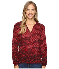 Lucky Brand Floral Blouse Red Multi Women's Blouse