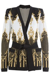 Balmain Belted Cardigan With Metallic Thread Black