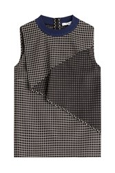 Carven Woven Cotton Shell With Draped Panel Multicolor
