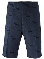 Thom Browne Grid Dog Print Shorts Blue