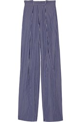 Tod's Striped Cotton Poplin Wide Leg Pants Navy