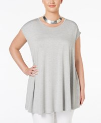 Ing Trendy Plus Size Tie Dyed Tunic T Shirt New Grey