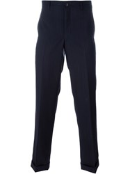 Comme Des Gara Ons Homme Plus Pinstriped Trousers Blue