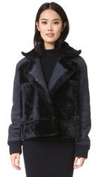 Tibi Shearling Aviator Jacket Midnight Navy