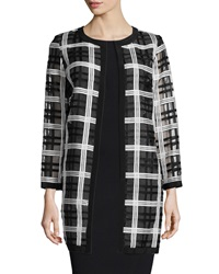 Milly Plaid Organza Cocktail Coat Black White