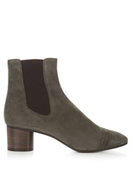 Isabel Marant Danae Block Heel Suede Ankle Boots Grey