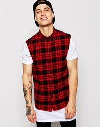 Asos Sleeveless Shirt In Long Sleeve With Mid Scale Check Red