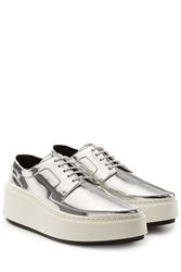 Kenzo Metallic Leather Lace Ups With Platform Silver