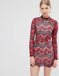 Love And Other Things High Neck Lace Dress Dark Red