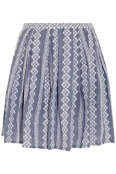 Band Of Outsiders Embroidered Cotton Chambray Mini Skirt