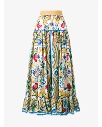 Dolce And Gabbana Maiolica Print Cotton Maxi Skirt White Multi Coloured Yellow Blue Green
