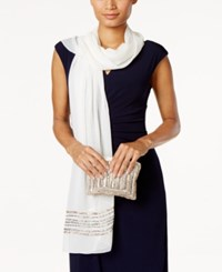 Vince Camuto Embellished Evening Wrap And Clutch Ivory