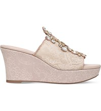 Rene Caovilla Swarovski Embellished Lace Wedge Sandals Gold