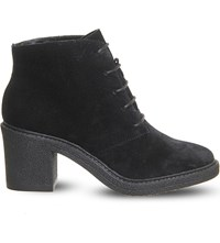 Office Lulu Lace Up Suede Ankle Boots Black Suede