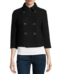 Raison D'etre 3 4 Sleeve Wool Cropped Coat Black