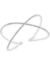 Inc International Concepts Silver Tone Pave X Flex Bracelet Only At Macy's