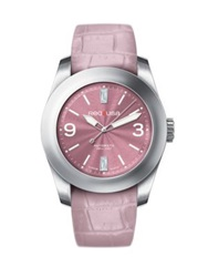 Red8usa Scandal Automatic Stainless Steel And Alligator Embossed Rubber Interchangeable Strap Watch Dusty Pink Silver