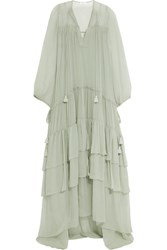 Chloe Tiered Silk Mousseline Maxi Dress Green