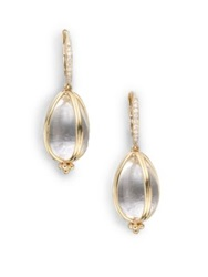 Temple St. Clair Classic Rock Crystal Diamond And 18K Yellow Gold Amulet Drop Earrings