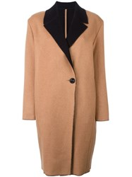 Fausto Puglisi Single Breasted Coat Brown