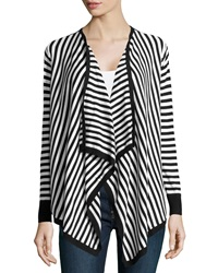 Neiman Marcus Striped Cascading Cardigan White Black